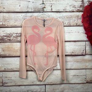 ZARA pink flamingo bodysuit sheer